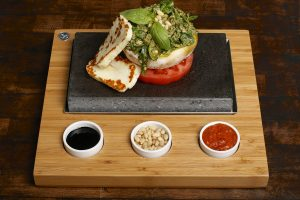 Haloumi, Buffalo Tomato and Basil Pesto on the SteakStones Starter Set