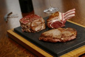 Fillet, Lamb & RibEye on the SteakStones Sharing Steak Plate