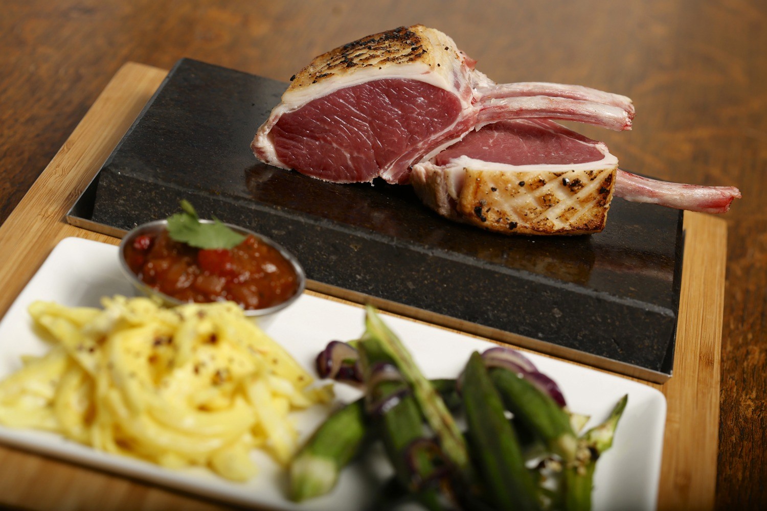 Rack of Lamb Cooked on the Stone. Featuring SteakStones Steak & Sides Set - the best Hot Stone Cooking Products Guaranteed
