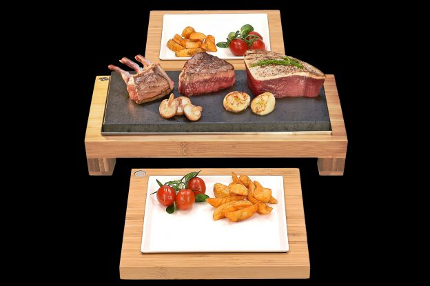 The Raised Steak Sharer & Server Sets. Fillet Steak, baby Rack of Lamb, Scallops and Tuna Sizzling on Steak on the Stones Hot Rocks Cooking Products. The best stone grill cooking products guaranteed. Bamboo and ceramic serving sets offer the more versatility than Black Rock Grill products.