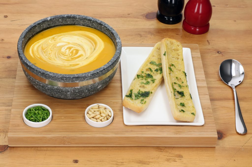A Warming Winter Soup served in the The Super Bowl Set from SteakStones - the best Hot Stone Cooking Products Guaranteed