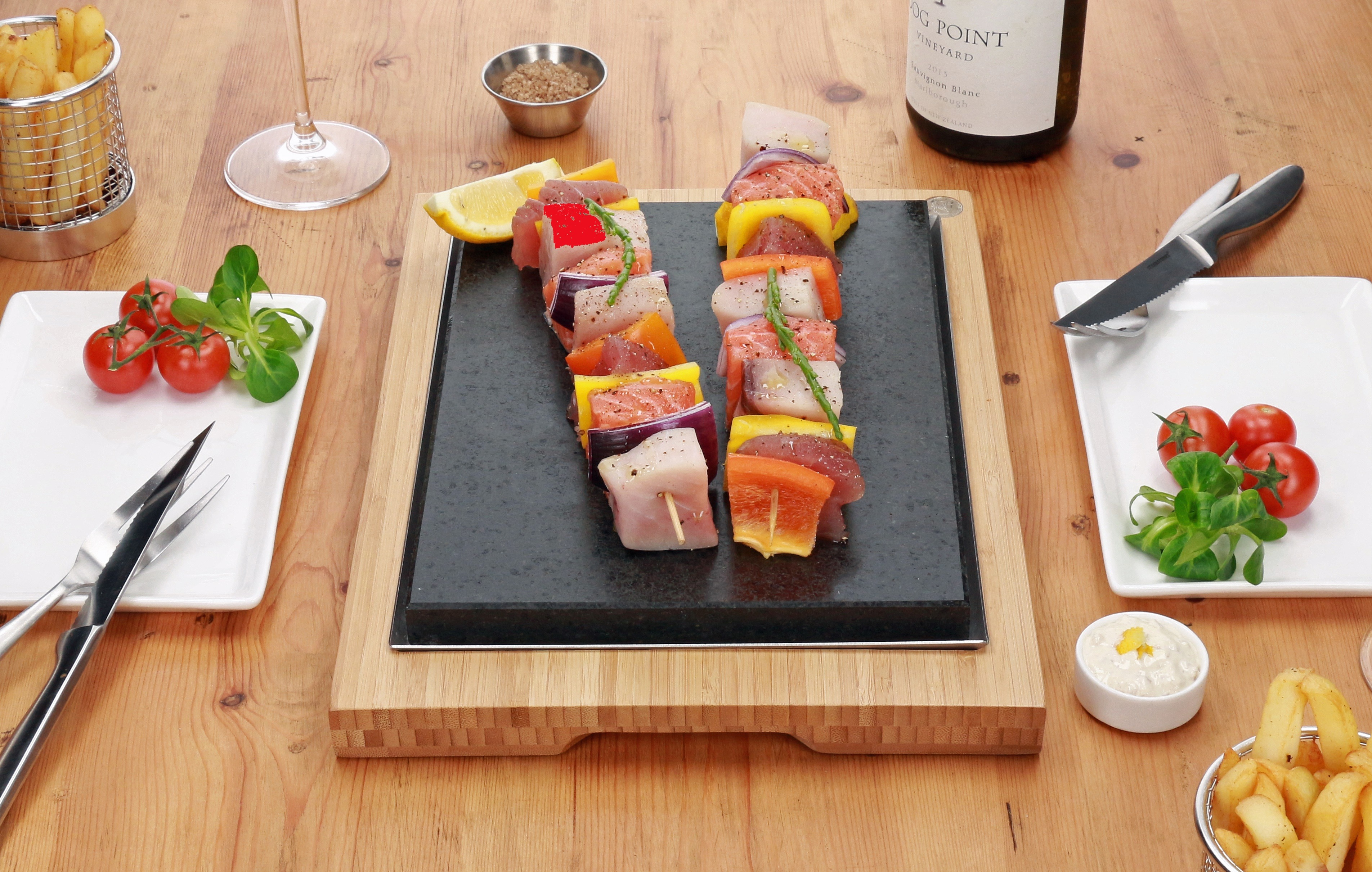 Fish Skewers Served on the Sizzling Stones. Featuring SteakStones Steak Sharer - the best Hot Stone Cooking Products Guaranteed