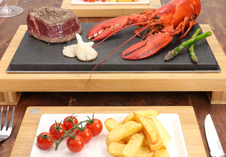 The SteakStones Raised Sharing Steak Plate featuring Lobster & Fillet Steak 1500